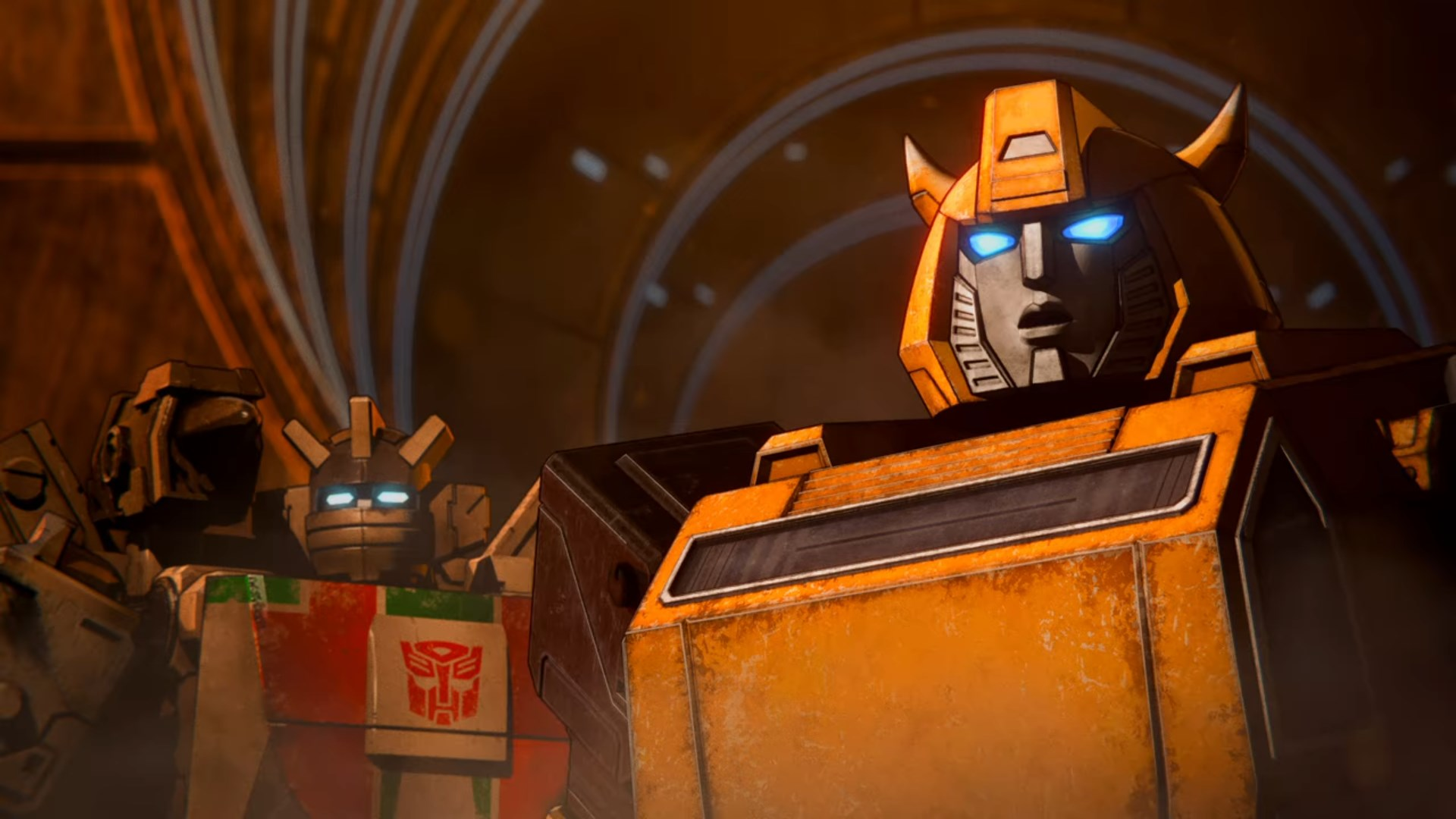 Wheeljack and Bumblebee in Transformers: War for Cybertron opening