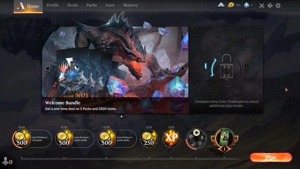 Fresh account new home screen.